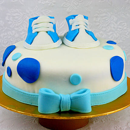 OnlineBlue Shoes Truffle Fondant Cake:Send Gifts for Newborn