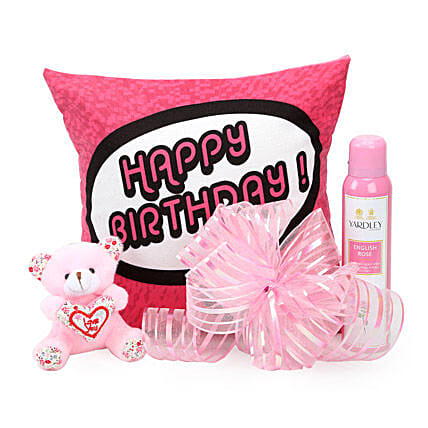 Pretty Pink Hamper-birthday cushion,small pink ,150 ml Yardley body spray:Soft toys to Bhopal