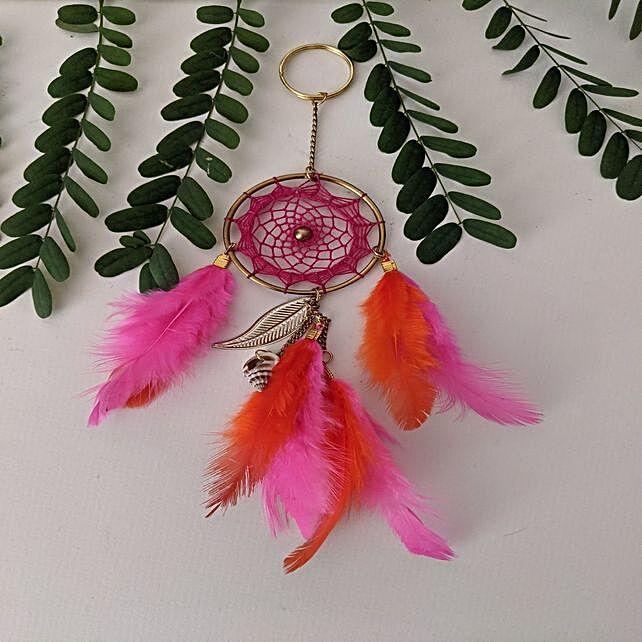 Bohemian dreamcatcher keychain Fuscia Pink