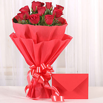 Bouquet N Greeting Card - Bunch of 10 Red roses and greeting card gifts.:Greeting Cards