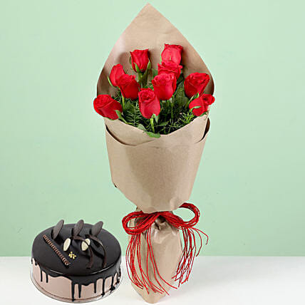 Beautiful Flowers and Cake Combo Online