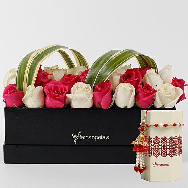 Rakhi and Flower Arrangment for Bhai Bhabhi