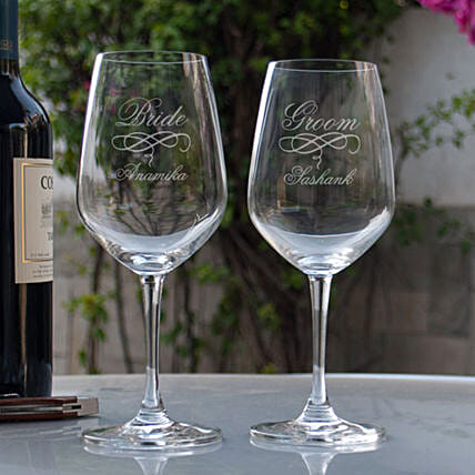 Customised Wine Glasses For Bride & Groom