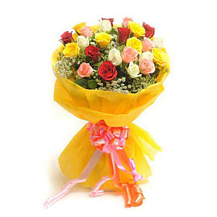 Bright Mix - Bunch of 25 Mix colour roses in paper packing .