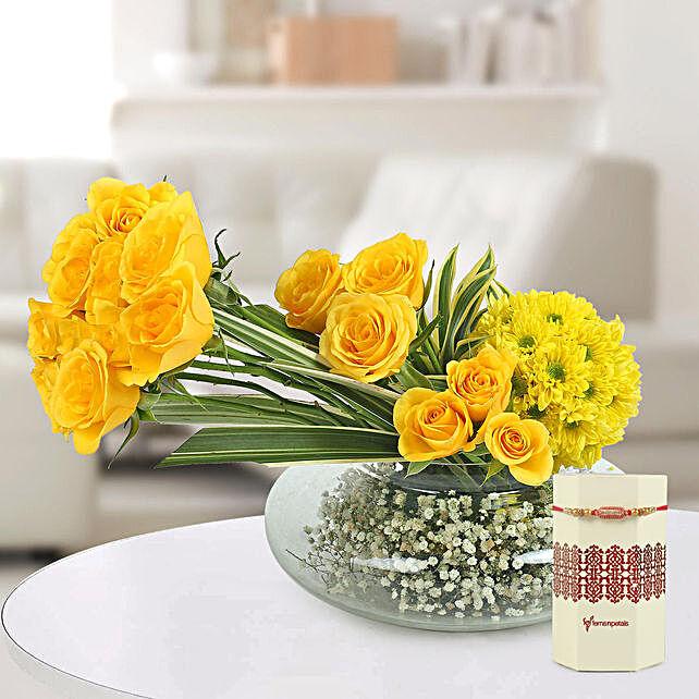 Online Carnation Bouquet and Rakhi Combo