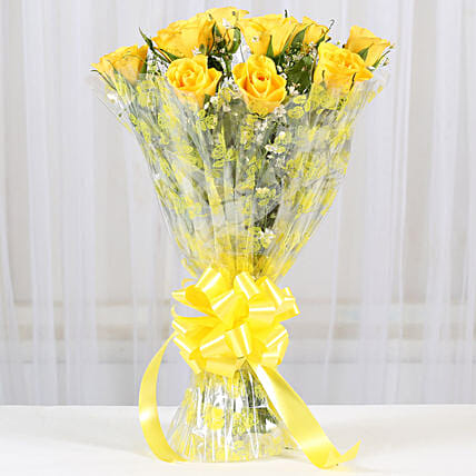 10 Bright Yellow Roses Bouquet:Roses for Birthday