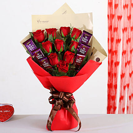 Bunch Of 10 Red Roses With Dairy Milk Chocolates