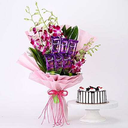 Online Bunch Of Orchids & Black Forest Cake Combo