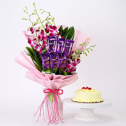 Online Bunch Of Orchids & Butterscotch Cake Combo