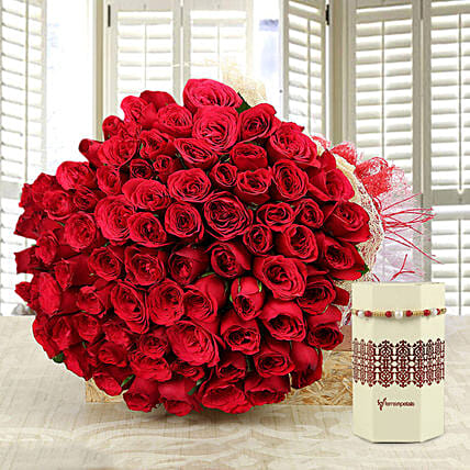 Rose Bouquet and Rakhi Online for Bro