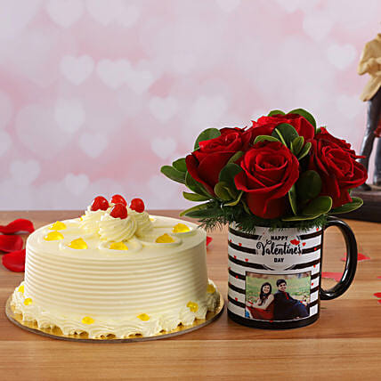 Butterscotch Cake & Beautiful Red Roses Personalised Combo:Flower Bouquet with Cake