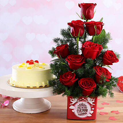 Butterscotch Cake & Forever With You Red Roses Combo:Flower Bouquet with Cake