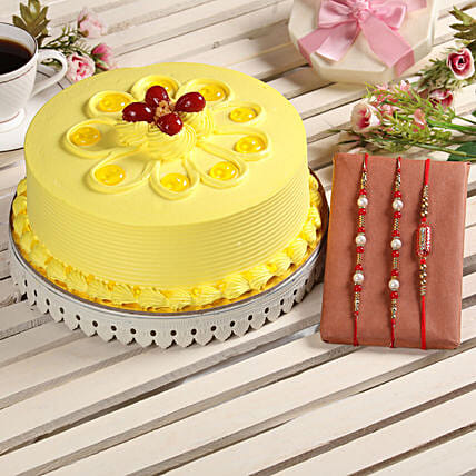 Butterscotch Cake and Rakhis Online:Order Rakhi with Cakes