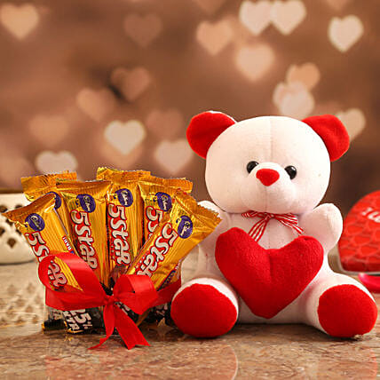 Valentine's Special Cute Gift Combo for Her:Soft Toys For Teddy Day