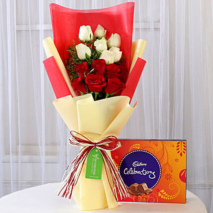 Red and White Roses Bouquet with Chocolate Online