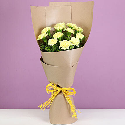 yellow carnation bouquet for parents