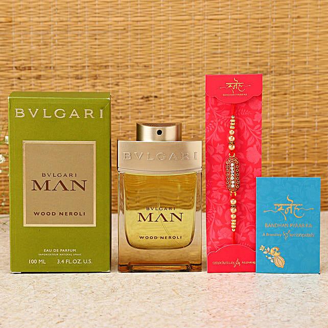 Capsule Rakhi & Bvlgari Perfume Hamper:Rakhi With Grooming Hamper