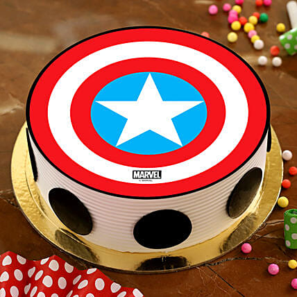 Captain America Pineapple Photo Cake:Birthday Cakes