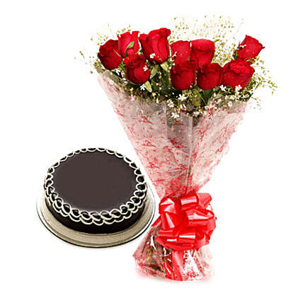 Red roses with cake:Send Flowers to Washim