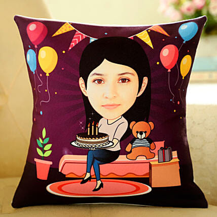 Customised Caricature Printed Cushion Online:Personalised Caricatures
