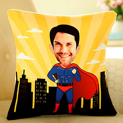 Superman Caricature Cushion Online:Personalised Birthday Gift