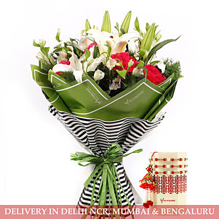 Rakhi with Mixed Flower Bouquet for Family