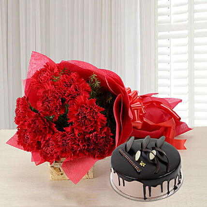 Carnations of Love - Bunch of 12 Red Carnations with 500gm Chocolate Cake