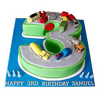 Cars Birthday Cake 4kg Eggless Vanilla