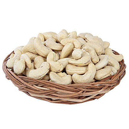 Cashews Basket-premium Cashews in 200 grams Brown Cane Basket