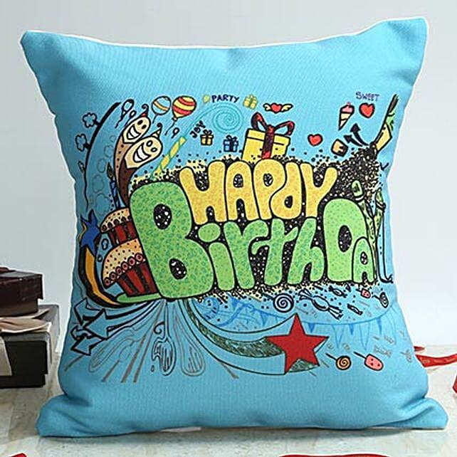 Happy birthday printed blue cushion