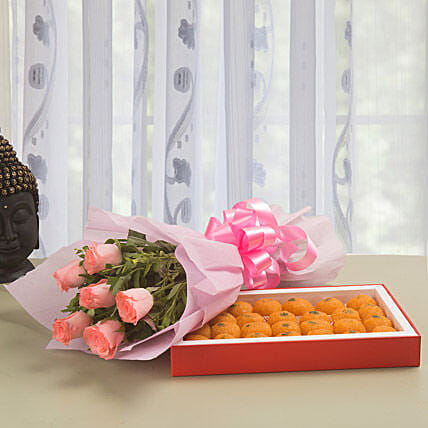 Celebration - Bunch of 6 Pink Roses with Ladoo 500gms.:Send Flowers & Sweets