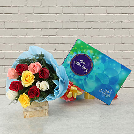 Celebrations with Roses - Bunch of 10 mix colour roses and 119 grams of cadbury celebrations.