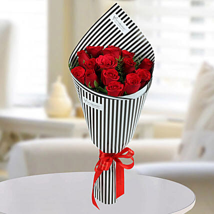 Red Roses Bouquet:Send Designer Flower Bouquets