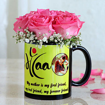Charming Roses In Mug For Maa
