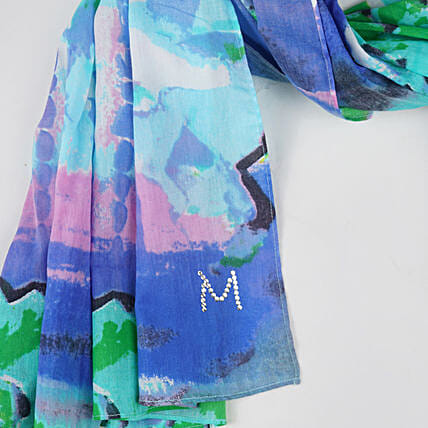 Online Cheerful Blues Customised Scarf