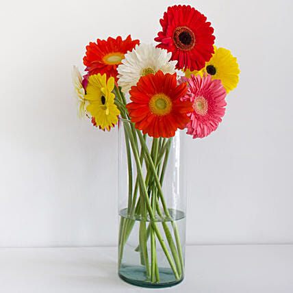 Cheerful Gerbera Blossoms Vase:Mixed Colour Flowers