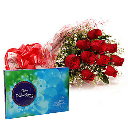 Bouquet of red roses and chocolates:Send Flowers to Kadapa