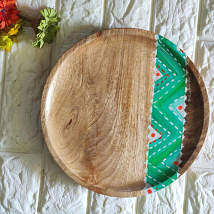 Chevron green Platter:Show Piece