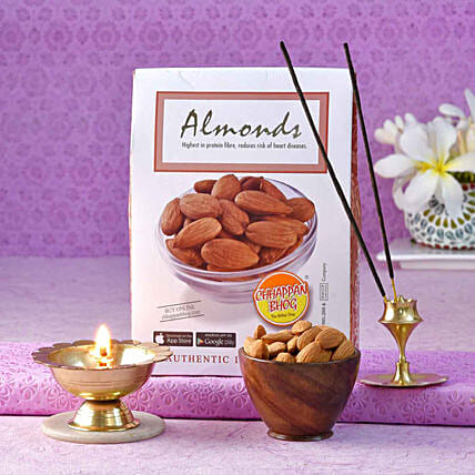 Chhappan Bhog Almonds Pack With Brass Agardan & Deep
