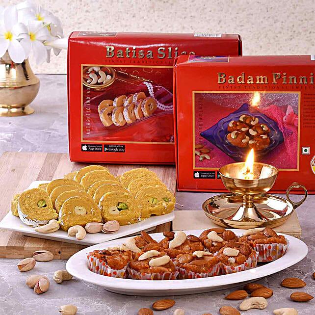 Chhappan Bhog Badam Pinni & Batisa Slice With Brass Deep:Diyas