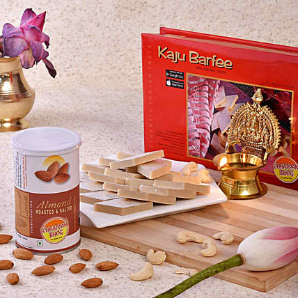 Chhappan Bhog Kaju Barfi & Almonds With Brass Diya