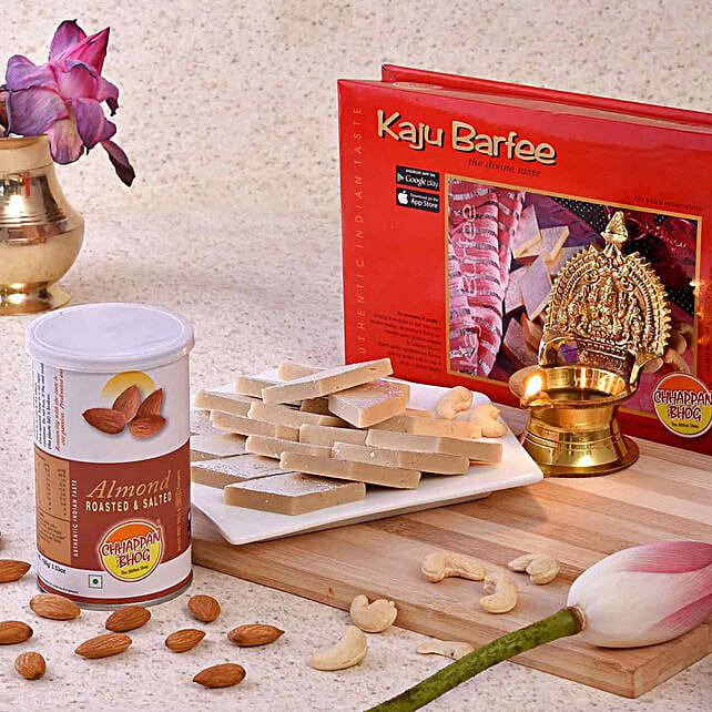 Chhappan Bhog Kaju Barfi & Almonds With Brass Diya:Diyas