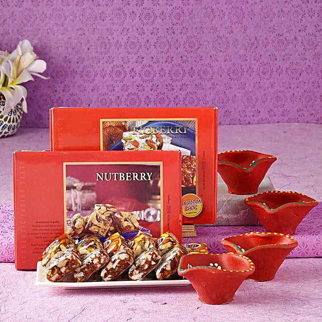 Chhappan Bhog Nutberry & Figberry With Diyas