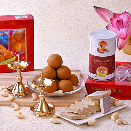 Chhappan Bhog Sweets & Cashews With Brass Uddipi Diyas