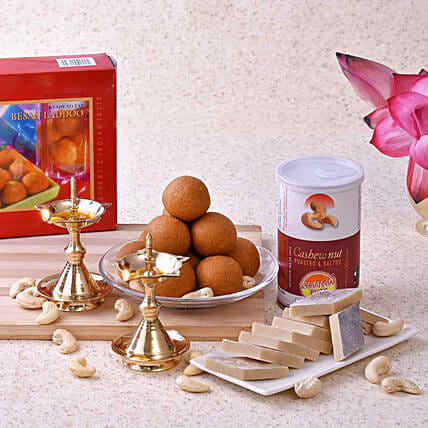 Chhappan Bhog Sweets & Cashews With Pair Of Uddipi Deep