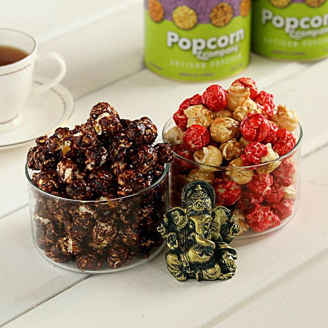 Choco Caramel & Red Velvet Popcorn With Ganesha