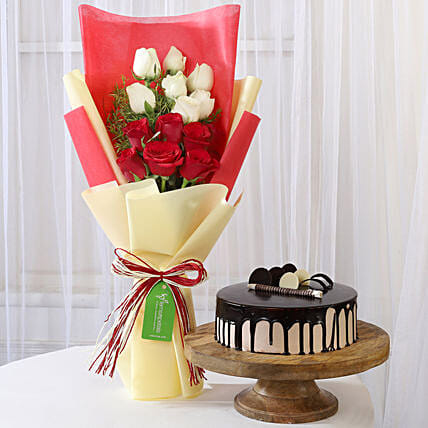 Mixed Roses with Chocolate Cake Online
