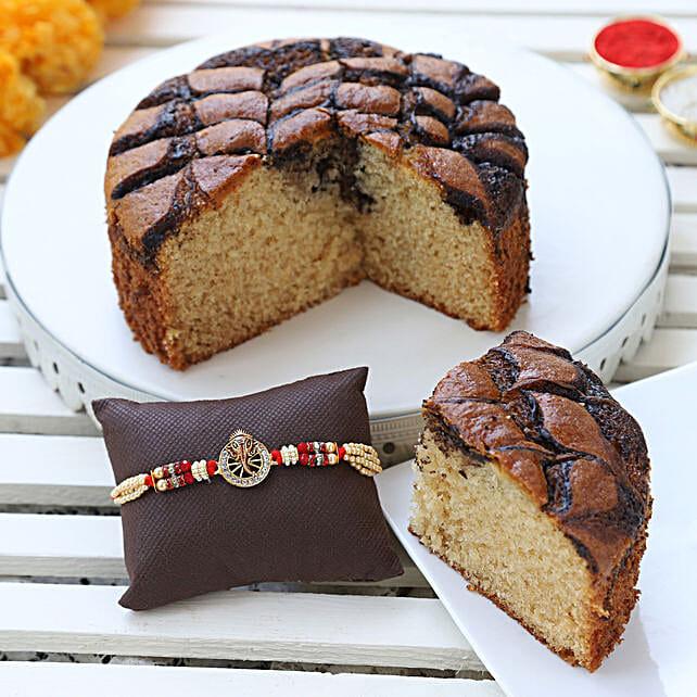 choco marble dry cake & designer rakhi online:Rakhi Gifts to Abohar