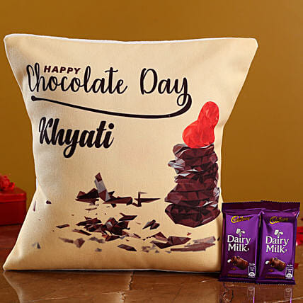 Chocolate Day Personalised Cushion and Cadbury Dairy Milk Hand Delivery