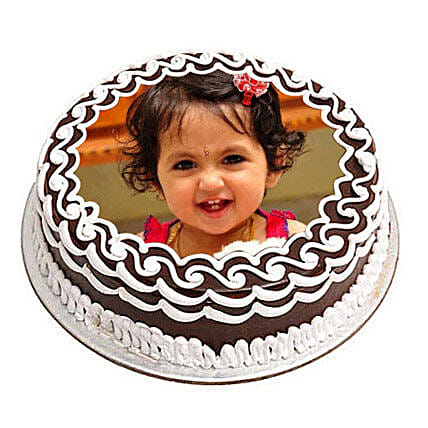 Chocolate Photo Cake 1kg:1st Birthday Cakes